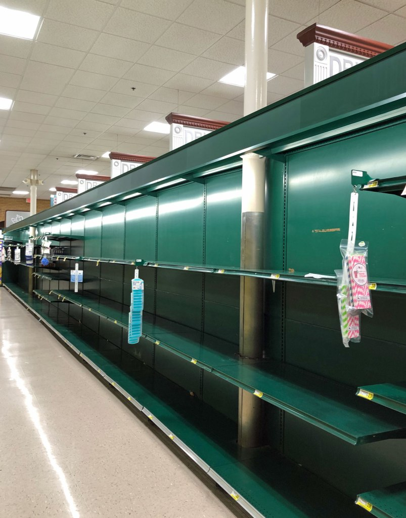 Empty grocery store shelves, Charleston, SC.